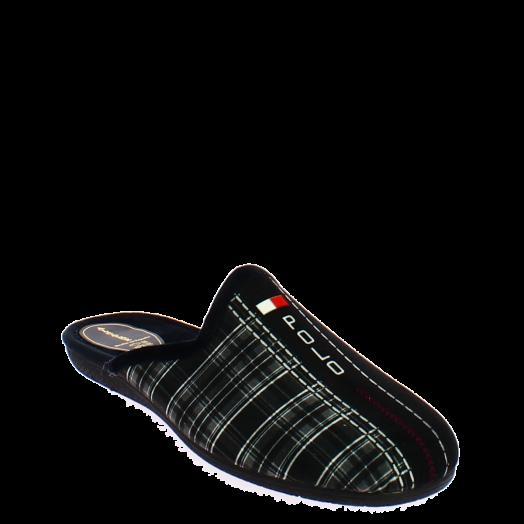 ANTRIN 18.30-10501 Παντόφλα Ανδρική Καρώ Μαύρο